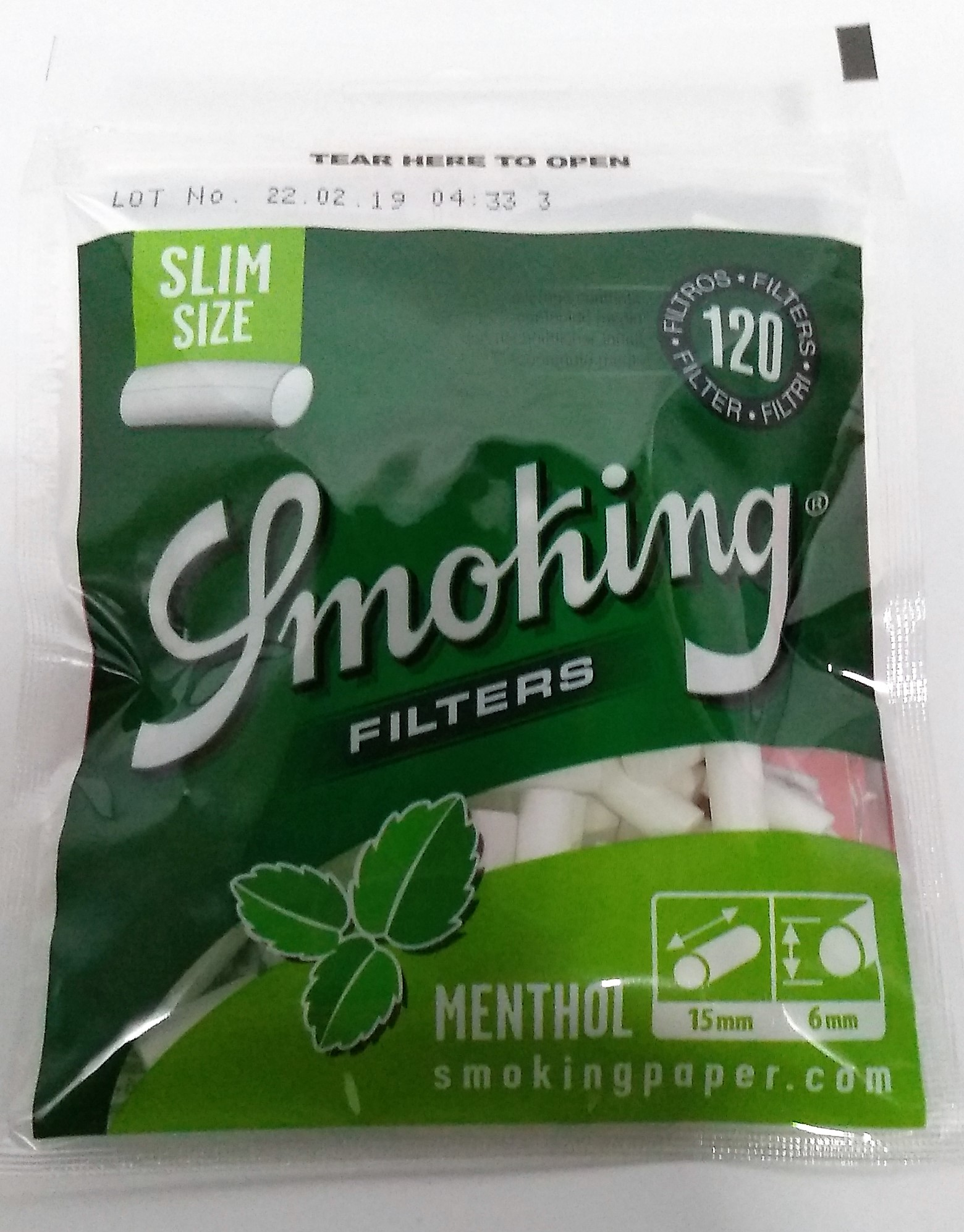 Filtro Smoking Slim Mentolado