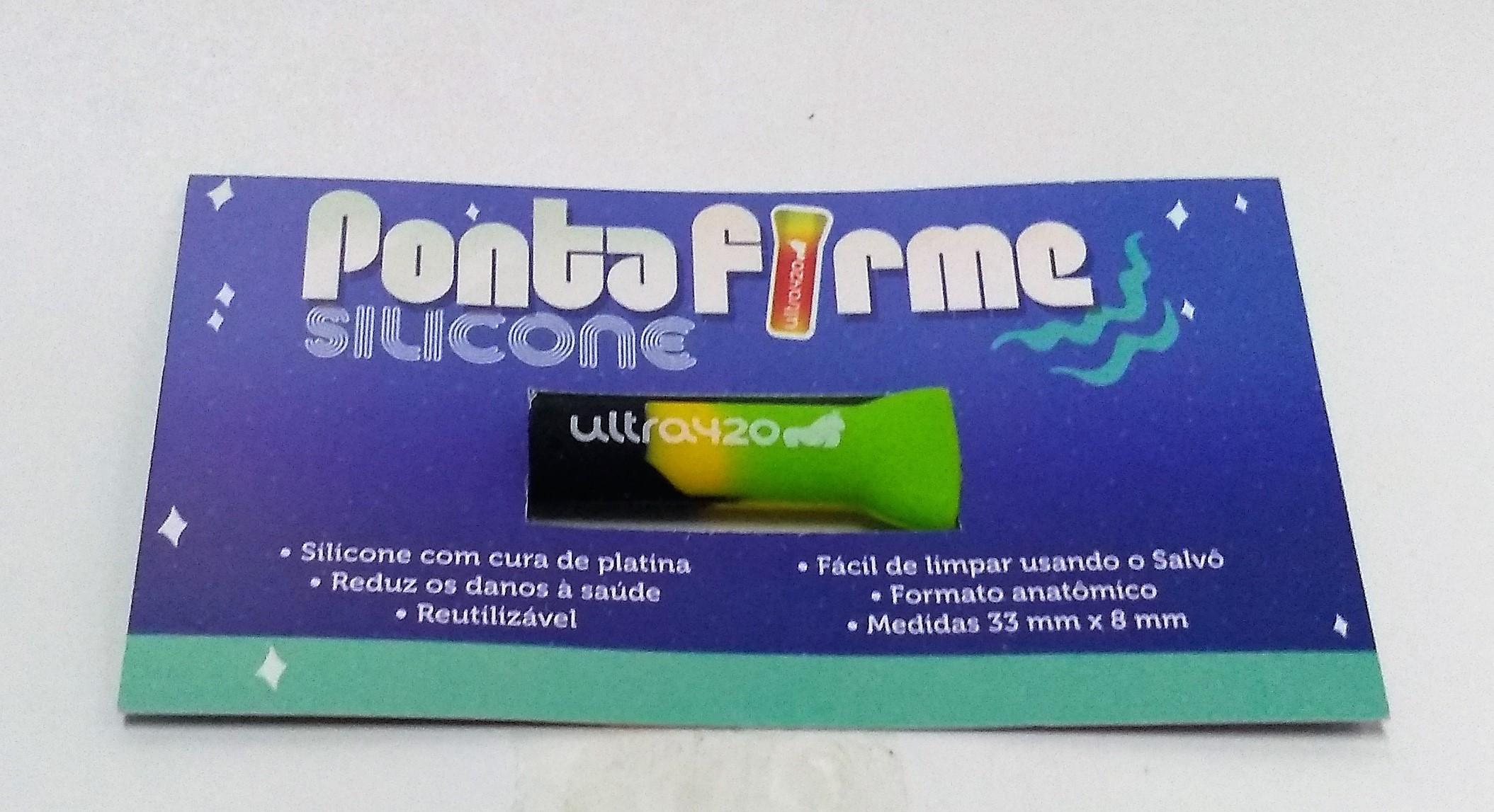 Piteira Ponta Firme Silicone Verde com Preto