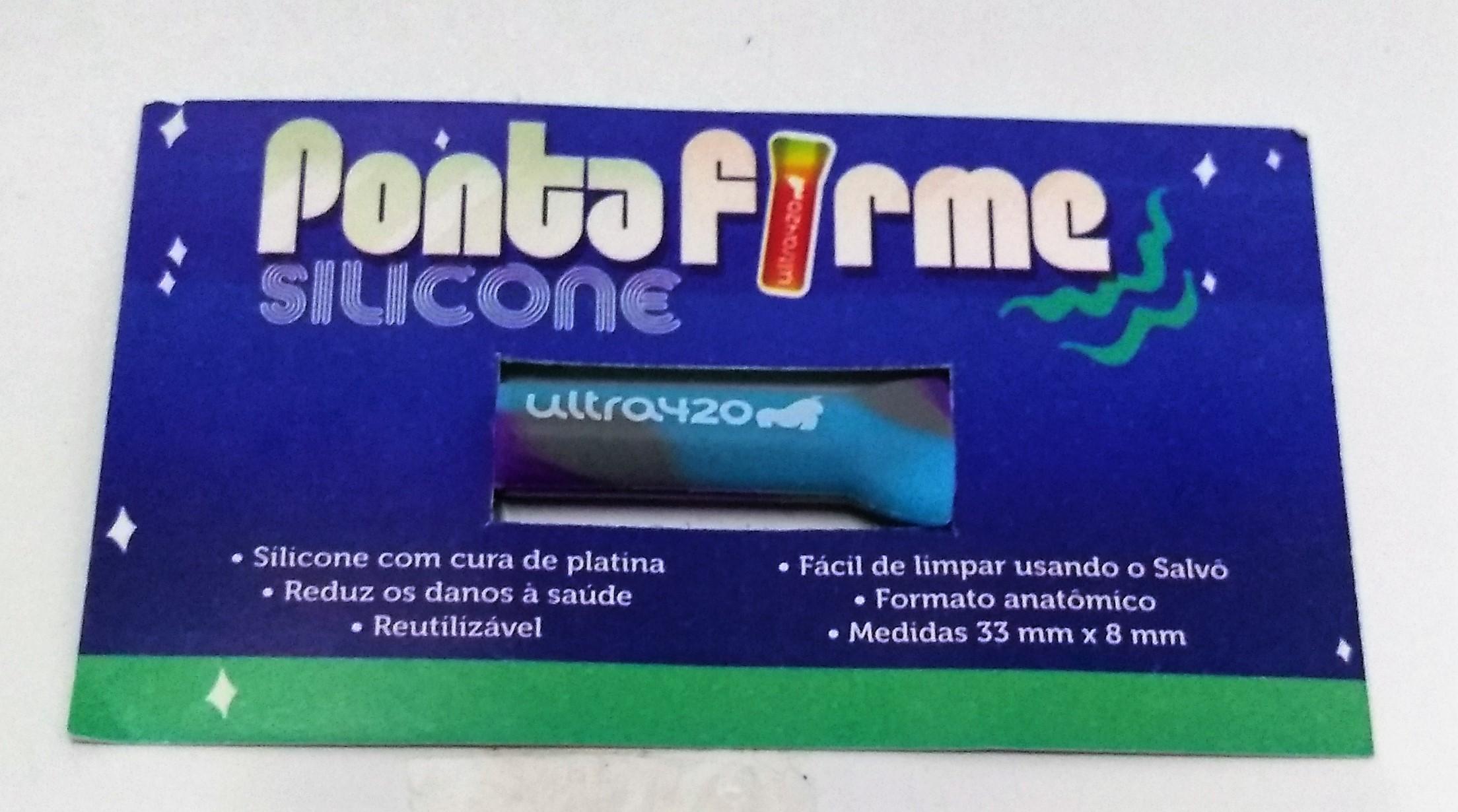Piteira Ponta Firme Silicone Azul com Roxo